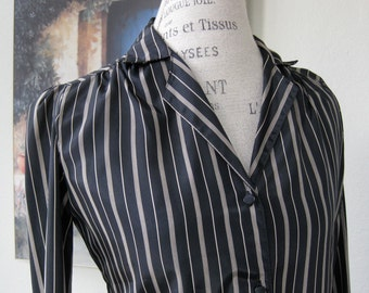 Silky Black with Tan Stripes Vintage Casual Corner Blouse