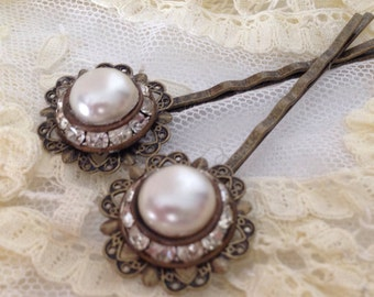 Vintage Pearl and Rhinestome Earring Hairpins, upcycled, recycled repurposed jewelry, antique bronze, wedding, bridal