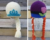 TWO crochet hats Frozen Elsa AND Anna inspired