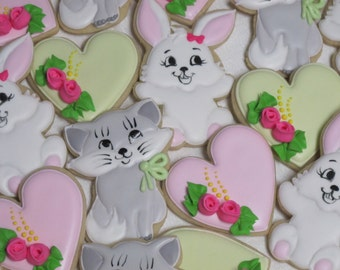 Rabbits and Kittens Children's Decorated Sugar Cookies - Easter Bunny Cookies, Animal Cookies, Birthday Party Favors, Custom Cookies