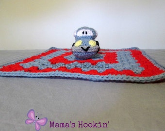 Car Lovey Security Blanket Cuddle Blanket Buddy Blue and Red Blanket Toy Unique Baby Shower Gift Crochet Made in Canada Ready to Ship