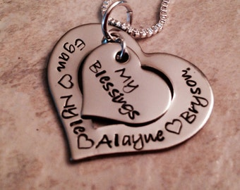 My blessings necklace personalized necklace mom mother grandma kids names hand stamped jewelry
