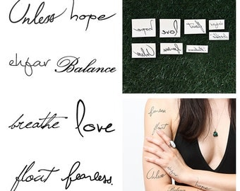 Words Set - Temporary Tattoo Pack (Set of 16)