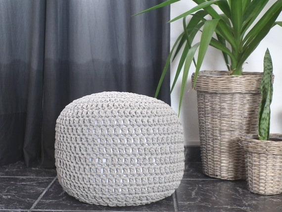 Floor Cushions For Nursery : Taupe Ottoman Nursery Footstool Taupe Crochet Pouf by LoopingHome