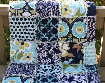 Crib Quilt, Rag, Joel Dewberry, Modern Meadow, navy blue, teal, gold, Baby Shower Gift, all natural, handmade