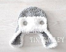 Baby Boy Hat, Earflap Boy Hat, Gray Aviator Boy Hat, Aviator Baby Hat  Newborn Photo Prop, Gray Baby Hat, Baby Boy, Baby Boy