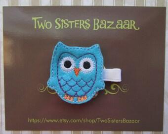 Owl Hair Clip, Blue Owl Hair Clip, Embroidered Hair Clip, Felt Hair Clip, Felt Owl Clip