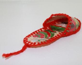 Vintage Handmade Paper Slipper, Tree Hanging Ornament