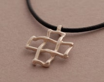 Unique and Modern Grid Cross Necklace for Men and Women in Sterling Silver, Art Cross Pendant, Christian Gift  ST672mat