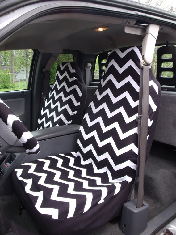 1 Set Of Black And White Chevron Print Car Seat Covers And