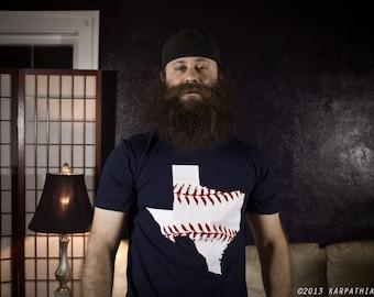 Texas baseball t-shirt navy blue shirt red and white print