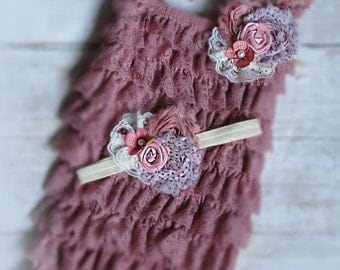 dust pink lace romper set. Lace Petti Romper , headband and clip, Baby Girl Photo Prop