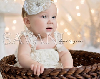 2 pieces ivory  Petti Romper Set. Lace Petti Romper , headband and romper, Baby Girl Photo Prop