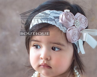 Flower girl lace headband, DUST PINK & WHITE headband.  Baby headband, vintage , shabby chic roses headband, headband, Wedding flower girl