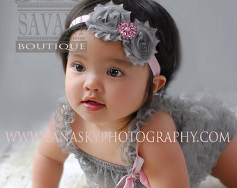 Baby lace romper and headband , 2 pieces Gray and pink Petti Romper Set. Lace Petti Romper ,Baby Girl Photo Prop