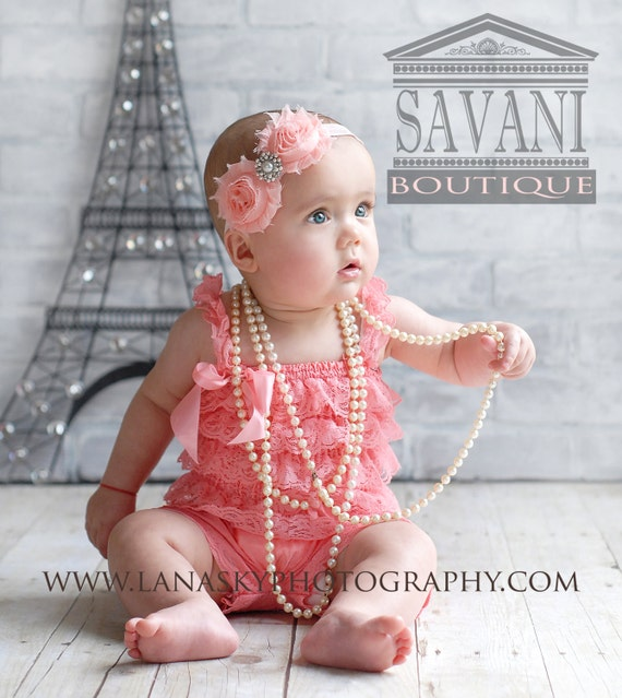 Baby girl lace romper sale 2 pieces coral pink petti romper set