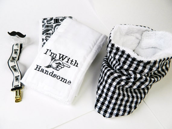 I'm With Handsome Combo for Baby, Mustache Pacifier, Burp Clothes and Strap and Bib Scarf-- Great Gift for a Baby Shower