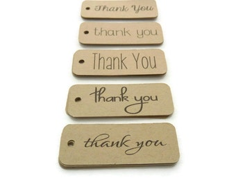 Thank You Tags - 100 Count - Hang Tag - 2 x 0.75 inches - Kraft Tag - Die Cut Tags - Holiday Tags - Wedding Favor Tags - Jewelry Tags TY44
