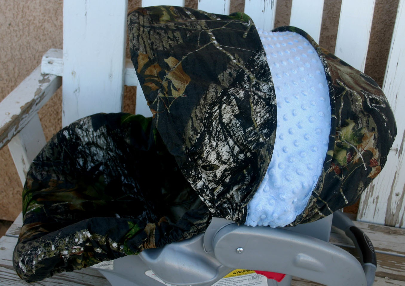 Mossy Oak Camo With Light Baby Blue Minky Car Seat Cover And