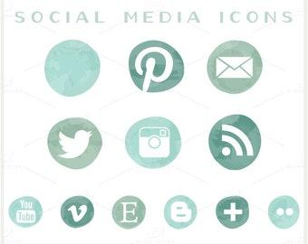 Social Media Icons - PNG Files - Seafoam Ombre