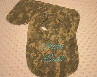 "Ready to Ship ~ ""Neutral"" Baby Bib and Burp Cloth Made with Army ""ACU"" Fabric ~ ""Army Brat"" ~ Cotton Flannel Backing"
