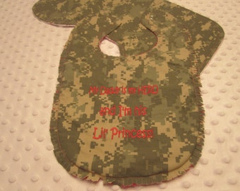 "Ready to Ship ~ Baby Bib and Burp Cloth Made with Army ""ACU"" Fabric ~ ""My Daddy is my HERO and I'm his Lil' Princess"" ~ Flannel Backing"