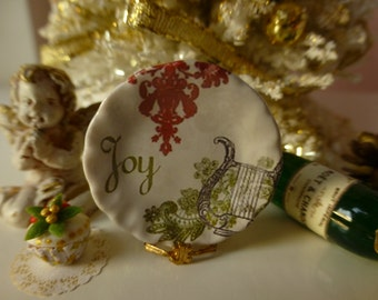 Christmas Joy Plate for Dollhouse
