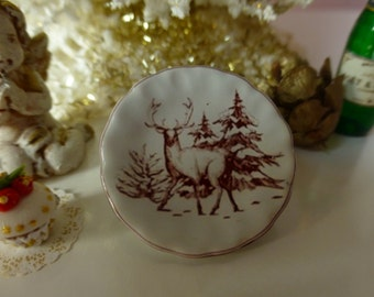Christmas Red Reinder Plate for Dollhouse