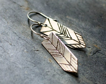 Sterling Silver stud earring, engraved arrow, chevron, minimalist, tribal, ethnic earring