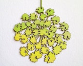 Laser Cut Flower Ornament - Green Painted Wood Fennel Cutout