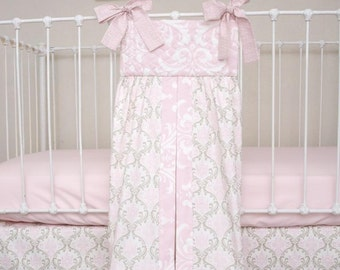 Pink and Taupe Damask Large Diaper Stacker