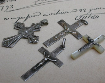 4pcs French antique 19th century sterling silver large  Mother Of Pearl Crucifix Cross rhinestone diamond cross