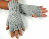 Women's Half-Fingered Gloves, Cabled, Light Grey Heather, Hand Knitted, Lamb's Wool Blend, READY TO SHIP