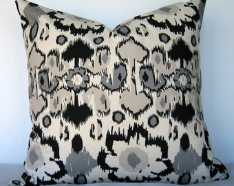 Rio Black/Natural Pillow Cover. Black and natural pillow cover. Rio Ikat Pillow Cover.