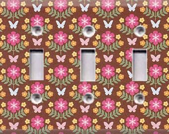Garden - Butterflies Triple Light Switch Cover