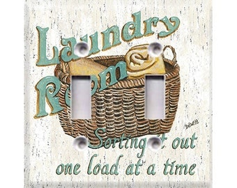 Laundry Room Style 2 Double Light Switch Cover