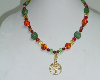 Beaded Tree of Life Necklace / Beaded Tree of Knowledge Necklace/ Boho Necklace