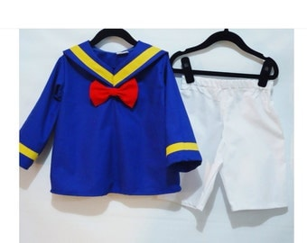 Donald Duck Set  (top & shorts) (2pc set or 3pc set) - Donald Duck Costume -Disney Cruise Outfit-Halloween Outfit- Disney Birthday Costume -