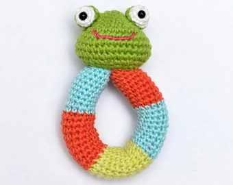 Crochet Baby Frog Rattle Natural Cotton Handemade frog plush toy FREE SHIPPING