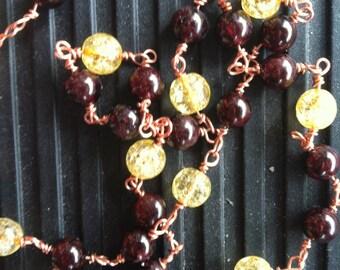 Garnet & Golden Tourmaline Necklace Copper Wire-Wrapped
