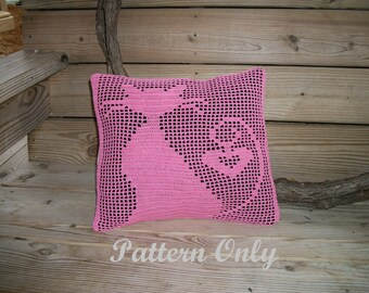 Cat with Heart Crochet Pillow Pattern