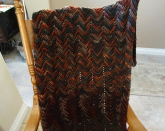 Lap or child size afghan in brown and olive green