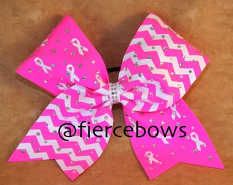 Chevron Rhinestones and Hope Breast Cancer Awareness Cheer Bow