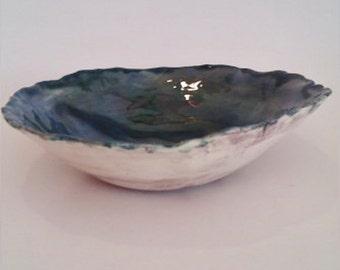 handmade ceramic bowl blue