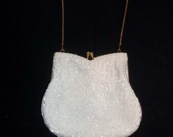 Crystal beaded 1980s evening bag