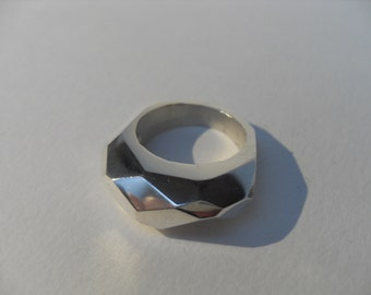 facetted ring in sterling sliver