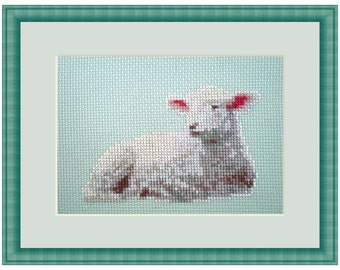 Cross Stitch Kit Lamb, Spring Lamb