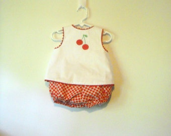 Cherry Applique Sun Suit, Girls 2 Piece