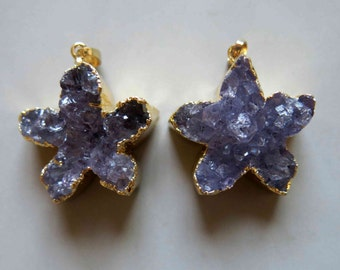 Natural Amethyst Druzy Floriated Pendant With Golden Edging -  B630