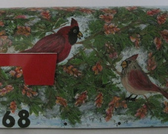 Hand Painted Male & Female Cardinal Mailbox In Buckeye Tree